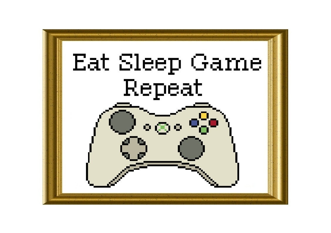 Eat sleep game repeat xbox controller funny cross stitch