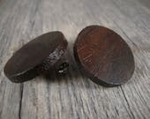Barnwood Style Post / Stud Earrings - dark wood - Large / dark / rustic