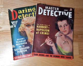 Vintage Daring Detective/Master Detective Magazines August 1937 Set of Two