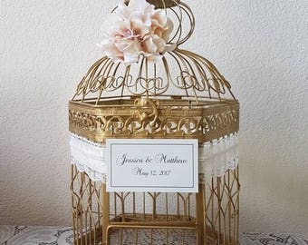 XLarge Hexagonal Birdcage Lace and Pearls-Wedding card holder