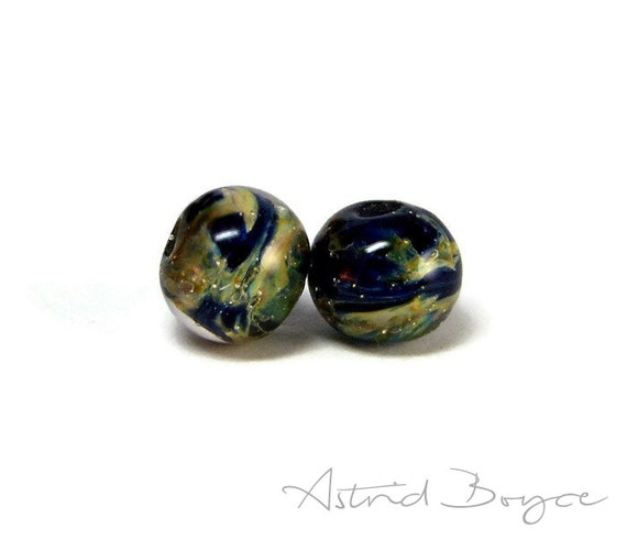 Milky Way artisan art glass beads lampwork lamp work bead pair SRA B 195 Small Space Theme Beads in Blues with Fine Silver Incusion Accents