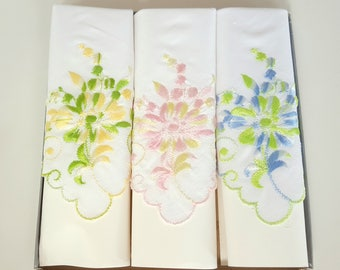 Set of 3 Embroidered Women's Floral Handkerchiefs, Unused Still In the Box, Green, Pink and Blue Flowers