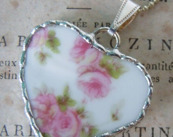 Fiona & The Fig Victorian Era-French Limoges - ROSES - Broken China Soldered Necklace Pendant Charm - Jewelry
