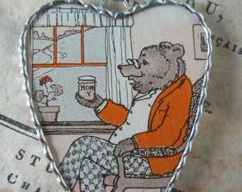 Fiona & The Fig - Vintage-1920 Art Deco-Childrens Book Image- Three Bears - Soldered Charm - Necklace - Pendant-Jewelry