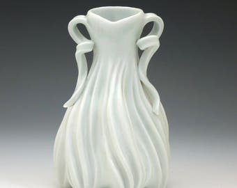 Satin white hand carved porcelain lady vase with handles