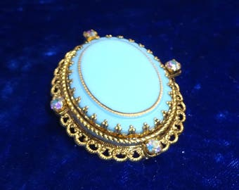 Vintage Blue Enamel Brooch with ab rhinestones signed pin signed West Germany enameled glass