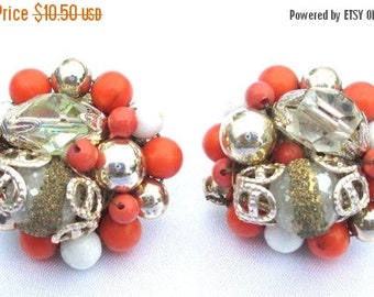 ON SALE Vintage Orange and White Beaded Cluster Earrings with Sugar beads and Crystal Beads, Screw Back, Pierced Conversion Available