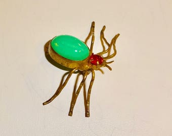 Antique Art deco Spider brooch Rare and Unusual Glass Dragons breath Spider Brooch Glass head Over a hundred Years old