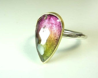 Rose Cut Wartermelon Tourmaline gemstone ring