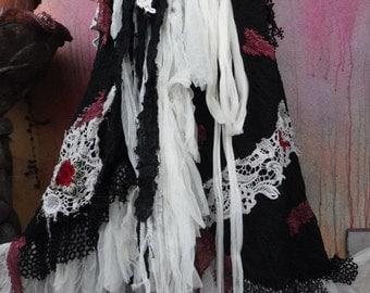 20%OFF bohemian wrap skirt, bohemian skirt, shabby skirt, lace skirt, lace, wedding skirt, gothic skirt, gothic skirt, mori girl skirt, OOAK