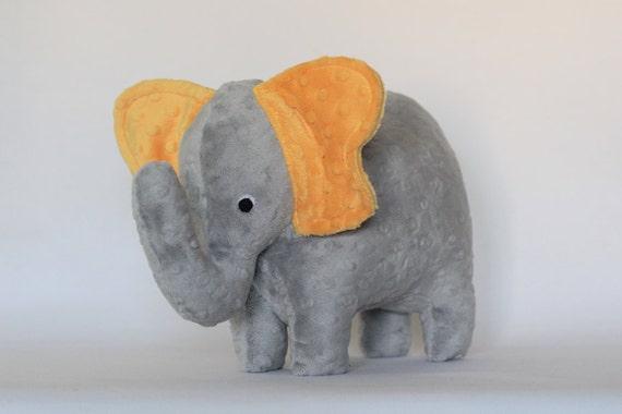 Stuffed Elephant Toy - Gray and Golden Yellow Minky Plush Elephant - Elephant Toy -Nursery Decor - Baby Christmas Gift - Valentines Day Gift