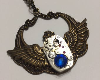 Time Flight Steampunk Watch Movement Necklace by Steamtime