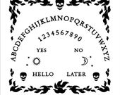 Custom Embroidered Ouija Board with skulls and flames