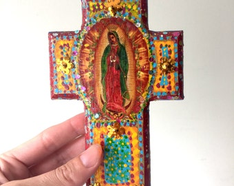 Rustic Our lady of Guadalupe image on wooden cross / red gold orange vintage image / Virgin Mary / Mexican wall art