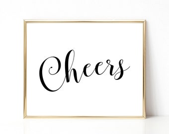 SALE -50% Cheers Digital Print Instant Art INSTANT DOWNLOAD Printable Wall Decor