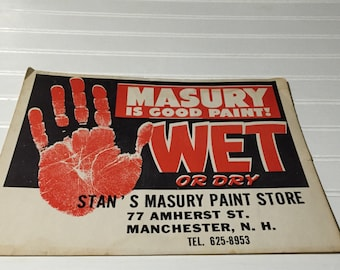 Painting Advertising paper cardboard manchester New Hampshire masury paint store Vintage