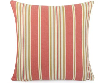 Coral and Cream Stripe Pillow Cover 18x18 20x20, 22x22 Eurosham or Lumbar, Made to Order Woven Jacquard Accent Pillow, Haddon Coral