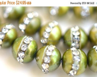 SALE Lime Olive Green Semi Round Freshwater Pearls with Inlaid Crystal Rhinestones 7mm - 1/2 STRAND
