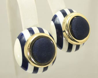 Blue and White Striped Button Earrings, Clip on, Summer Jewelry, Navy Blue