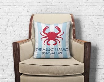 Red Crab Throw Pillow / Personalized Pillow Cover, engagement gift, beach house decor, boat gift, housewarming gift, new couple gift