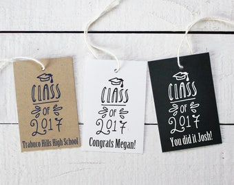 Graduation Favor Tags - Class of 2017 Design - Personalized Graduation Tags | Class of 2017 Favors | Personalized Favor Tags - Set of 18