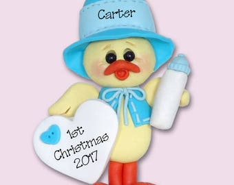 Baby Boy Chick  1st Christmas Personalized Baby Ornament - Limited Edition