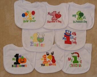 Baby's First  Holiday Bib SINGLES - set 1