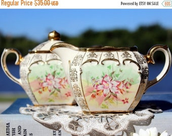 DAMAGED Sadler Cube, Creamer and Sugar, Cream & Sugar Set, English Bone China 13128