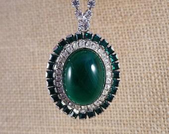 William de Lillo Crystal Rhinestone Emerald Green Rhinestone and Green Art Glass Cabochon Pendant Necklace