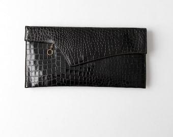vintage 60s leather clutch, lizard print clutch, black handbag