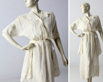 Edwardian tea dress, 1900s ivory dress