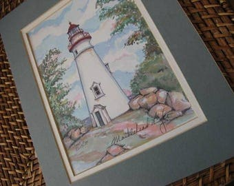 Vintage Marblehead Lighthouse Water Color Print, Double Matted, Ready to Frame, Shades of Sage,Teal , Sky Blue, Gray, Rose, Pink , Gold, Red