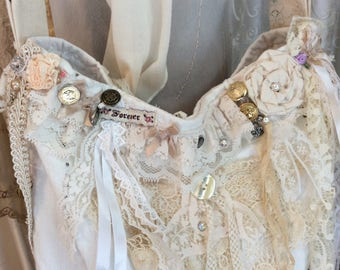 Romantic Linen Bag, handmade Victorian Shabby, vintage creme lace, beads buttons embellished, soft shabby linen
