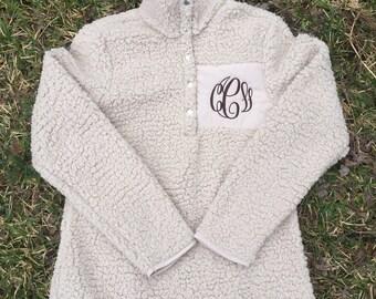 SALE - ADULT SHERPA Pullover - Monogrammed Jacket - Large/XLarge