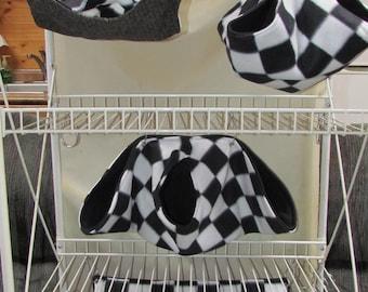 5Pc, Critter Nation Hammock Set, Pet Rat Hammocks, Small Animal Bedding Set, Sugar Gliders, Hedge Hogs, Pet Bedding, Calzone, Black & White