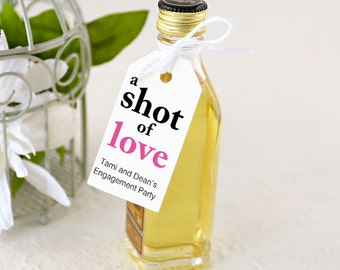 A Shot of Love Tags, Engagement Party Favors, Mini Bottle Tag, Shot Bottle Tag - 1.25 x 2.25 inches, Set of 25 (SCFT-CAS), Printed Tags
