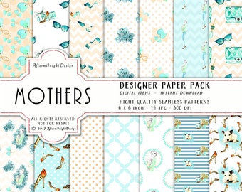 Mothers Paper Pack Fashion Patterns Young Mothers Baby Handbag Sunglasses Dog Earrings clipart Watercolor Backgrounds Planner Supplies