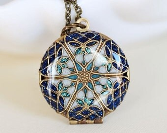 ON SALE Ocean Blue Locket,Jewelry Gift,Brass Locket,Blue locket,filigree locket necklace,photo locket -  Wedding Locket,Something Blue