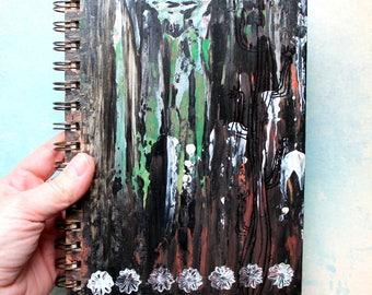 Notebook / Journal, diary,  hand painted, original painting, black, cactus