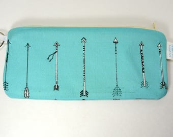 Zippered pouch make up bag eyeglass case with turquoise arrow pattern