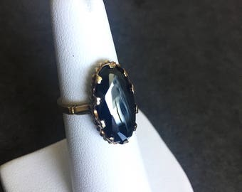 Vintage 10K Yellow Gold Faceted Hematite Solitaire Ring Statement Ring Black Wedding Gift for Her