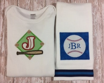 Personalized Burp and Bodysuit with Baseball-Bat Home Plate - Baby Gift Set
