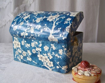 Vintage Kitchen Tin by Daher Blue Cherry Blossom Tin Blue and White Made in England Vintage 1970s