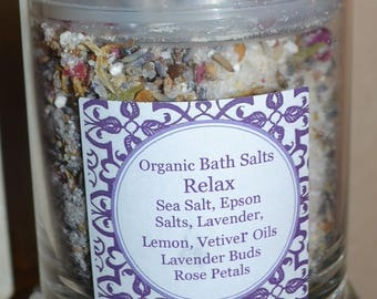 Organic Bath Salts~ RELAX~ French Lavender~ Lemon~ Vetiver~16 ounces ~All Natural
