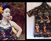 Reserved Vintage 1950s inspired repro mans short sleeve shirt Hawaiian