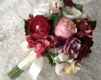 Wedding Bouquet, Bridal Bouquet, Blush & Burgundy Wedding Flowers, Silk Floral Bouquet, Blush and Burgundy Bouquet, Rose Hydrangea Bouquet