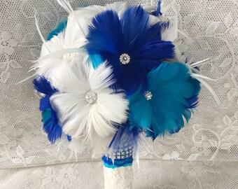 Feather Wedding Bouquet,Turquoise Bridal Bouquet,Gatsby Wedding Bouquet,Brooch Bouquet,Something Blue,Alternative Bouquet, YOUR CHOICE COLOR