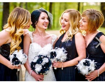 Black & White Wedding bouquet, Feather Bridal Bouquet,Brooch Bouquet,Gatsby Bouquet, Alternative Bouquet,Wedding Accessory,YOUR CHOICE COLOR
