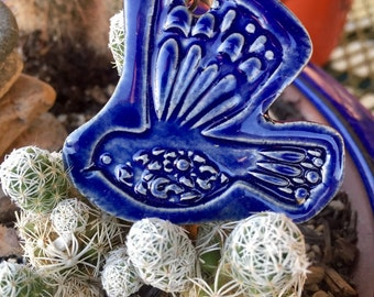 Cobalt Blue Bird Necklace, Blue Bird, Bird Necklace, Ceramic Bird Pendant, Ceramic Necklace, Bird Jewelry, Boho Jewelry