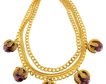"""Best Deco Couture 3 Chain Purple Murano Venetian Glass Pod Drops Necklace 17.5"""""""
